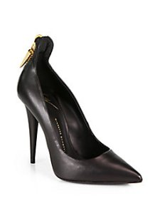 Giuseppe Zanotti  Leather Zipper Trimed Pumps $795