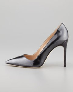 Manolo Blanik BB  Point-Toe Metallic Pump, Black Titanium $595