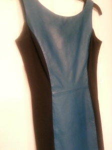 cobalt blue leather dress