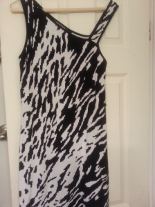 black/white animal print sweater dress