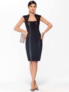 Black Faux Leather Ponte Dress $158 Cachet