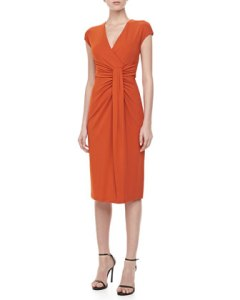 Michael Kors Jersey Faux-Wrap Dress in Paprika was $1,295 now $453 Neimans