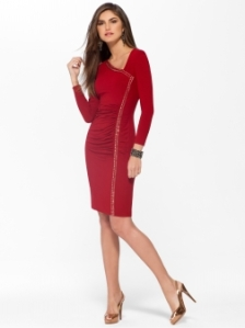 Red Asymmetrical Neck Dress reg $158 on sale for $79 Cachet