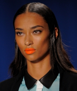 bold orange lipstick